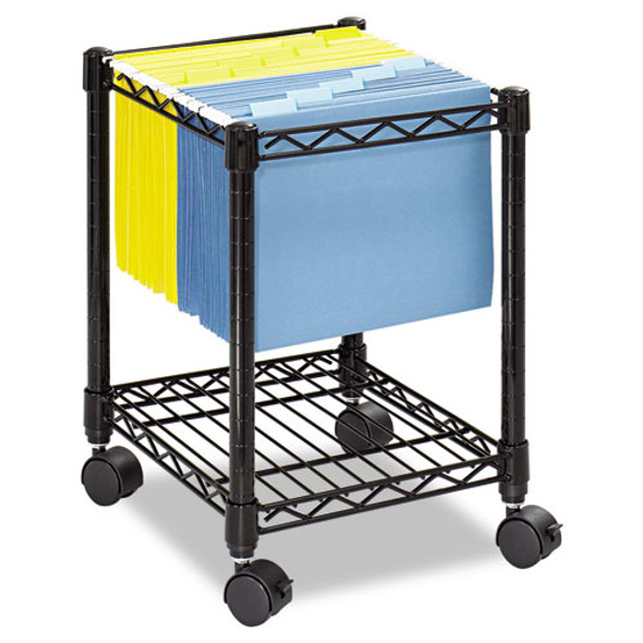 Compact Mobile Wire File Cart, One-shelf, 15.5w X 14d X 19.75h, Black