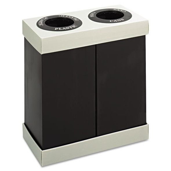 At-your-disposal Recycling Center, Polyethylene, Two 56 Gal Bins, Black