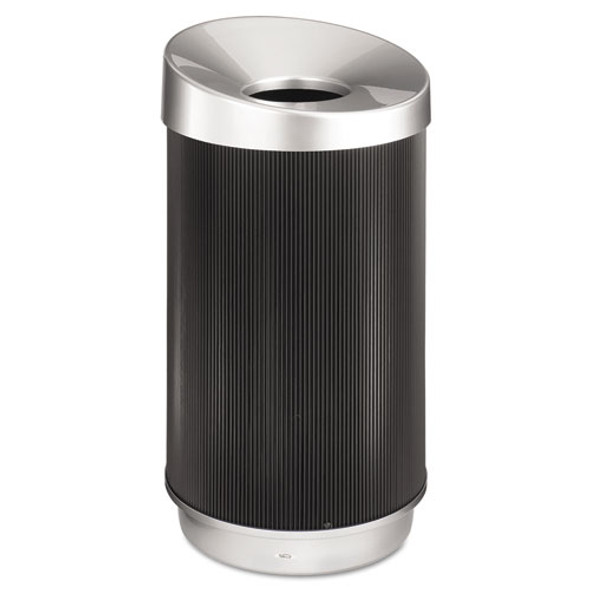 At-your-disposal Vertex Receptacle, Round, Polyethylene, 38 Gal, Black/chrome