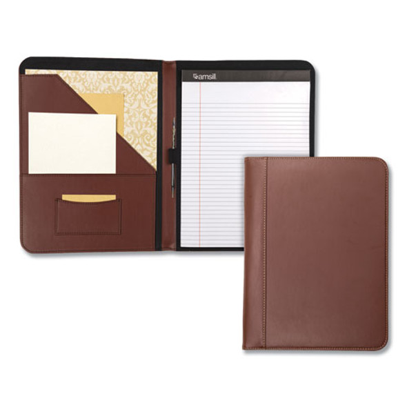 Contrast Stitch Leather Padfolio, 8 1/2 X 11, Leather, Tan