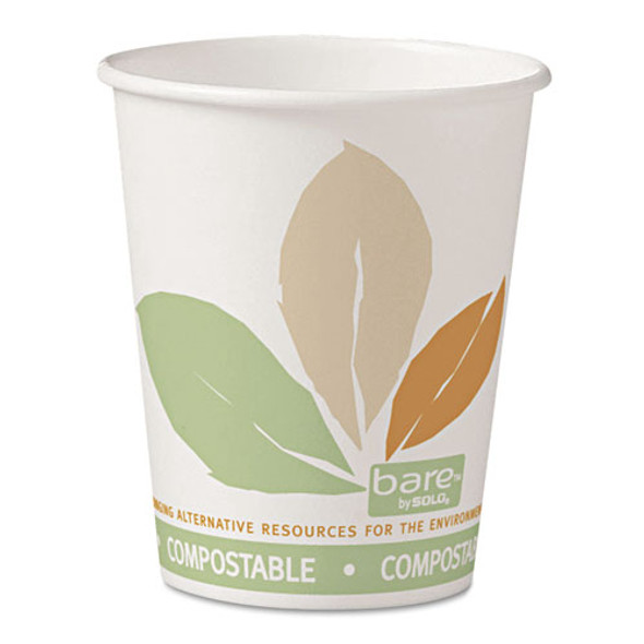 Bare By Solo Eco-forward Pla Paper Hot Cups, 10oz, Leaf Design,50/bag,20 Bags/ct