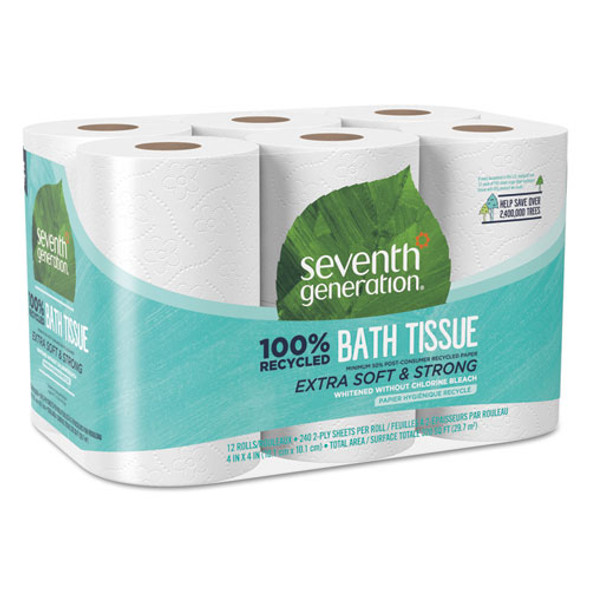 100% Recycled Bathroom Tissue, Septic Safe, 2-ply, White, 240 Sheets/roll, 12/pack