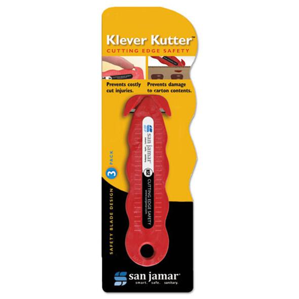 Klever Kutter Safety Cutter, 3 Razor Blades, Red
