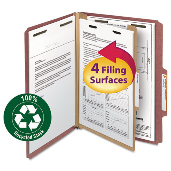 100% Recycled Pressboard Classification Folders, 1 Divider, Letter Size, Red, 10/box