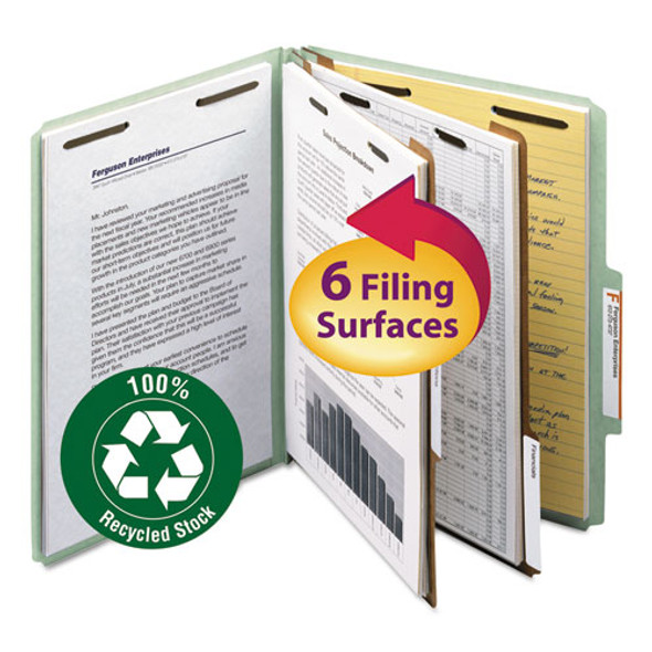100% Recycled Pressboard Classification Folders, 2 Dividers, Letter Size, Gray-green, 10/box