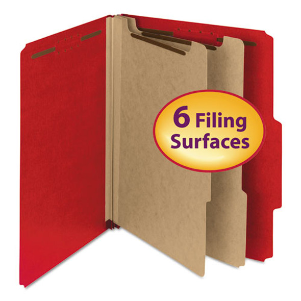100% Recycled Pressboard Classification Folders, 2 Dividers, Letter Size, Bright Red, 10/box