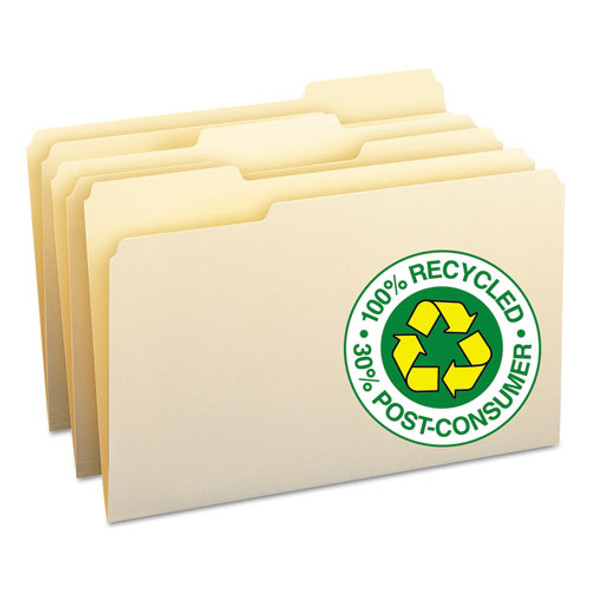 100% Recycled Manila Top Tab File Folders, 1/3-cut Tabs, Legal Size, 100/box