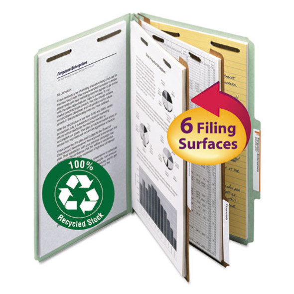 100% Recycled Pressboard Classification Folders, 2 Dividers, Legal Size, Gray-green, 10/box