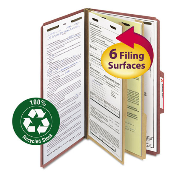 100% Recycled Pressboard Classification Folders, 2 Dividers, Legal Size, Red, 10/box
