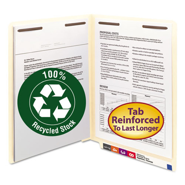 100% Recycled Manila End Tab Folders With Two Fasteners, Straight Tab, Letter Size, 50/box