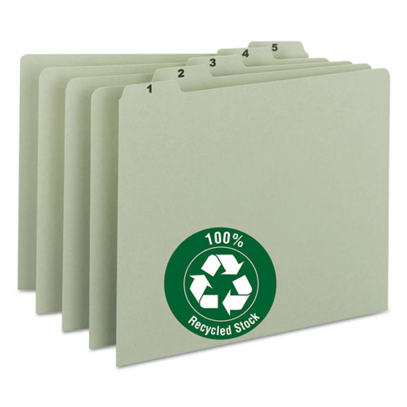 100% Recycled Daily Top Tab File Guide Set, 1/5-cut Top Tab, 1 To 31, 8.5 X 11, Green, 31/set