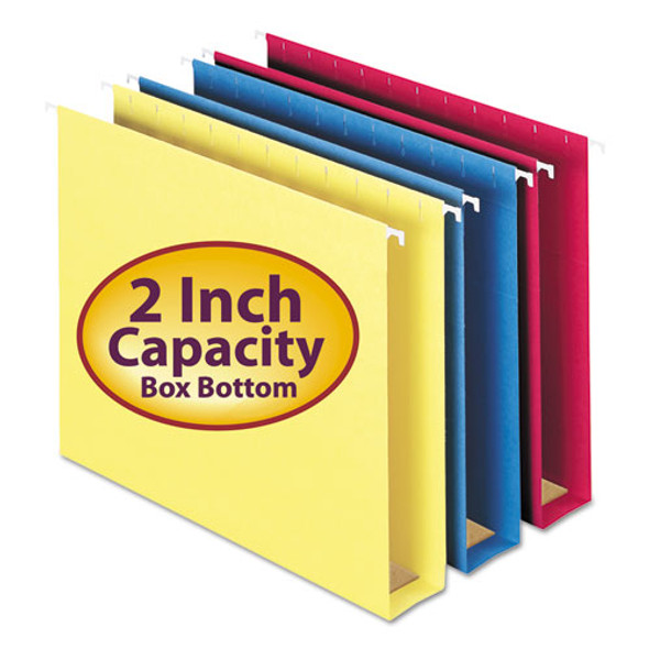 Box Bottom Hanging File Folders, Letter Size, 1/5-cut Tab, Assorted, 25/box