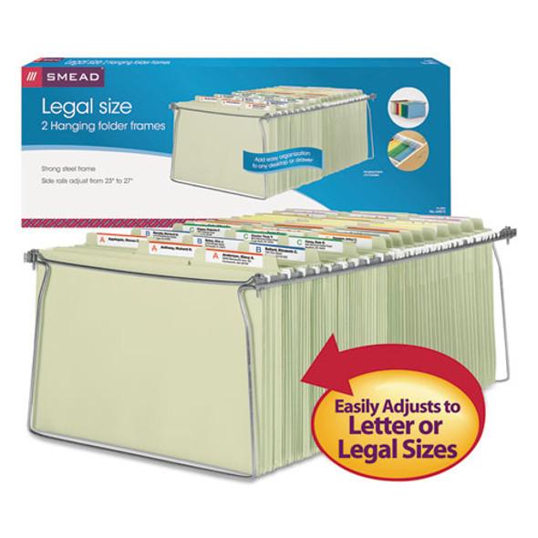 """Hanging Folder Frame, Legal Size, 23-27"""" Long, Steel, 2/pack"""