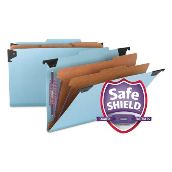 Fastab Hanging Pressboard Classification Folders, Legal Size, 2 Dividers, Blue