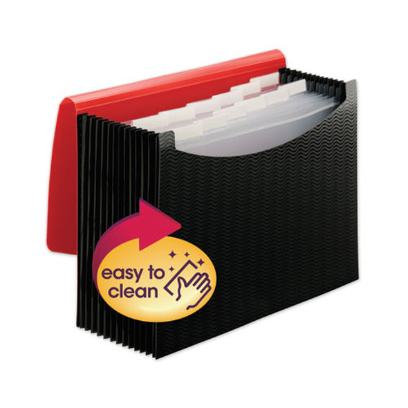 """12-pocket Poly Expanding File, 0.88"""" Expansion, 12 Sections, 1/6-cut Tab, Letter Size, Black/red"""