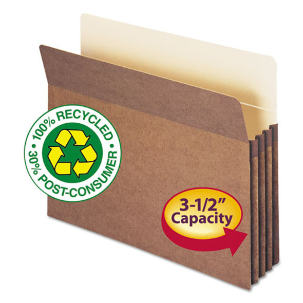 """100% Recycled Top Tab File Pockets, 3.5"""" Expansion, Letter Size, Redrope, 25/box"""