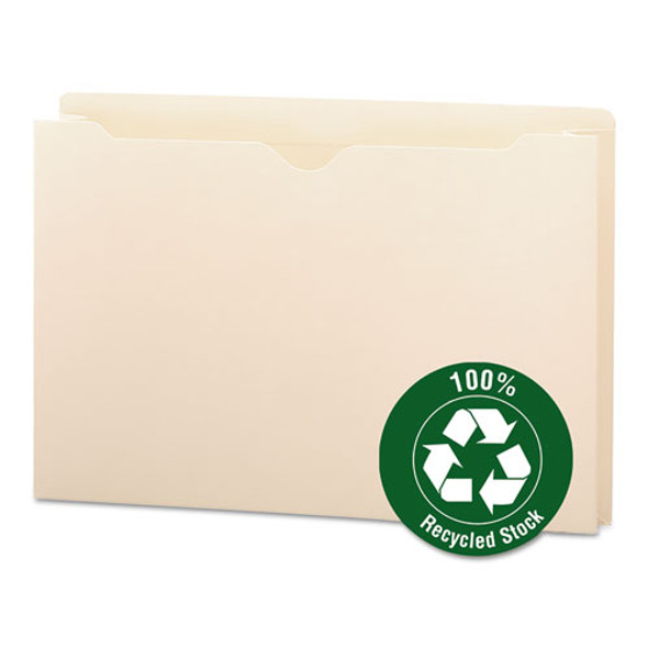 100% Recycled Top Tab File Jackets, Straight Tab, Legal Size, Manila, 50/box