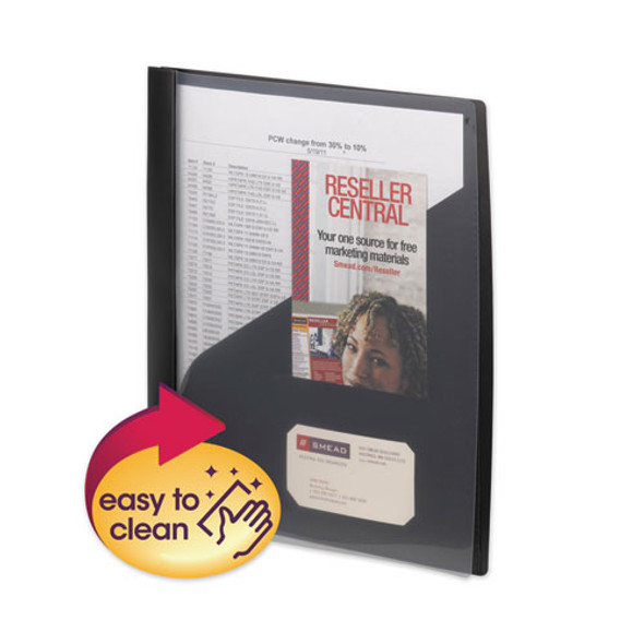 Clear Front Poly Report Cover With Tang Fasteners, 8.5 X 11, Black, 5/pack