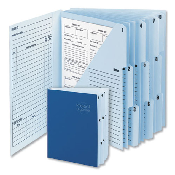 10-pocket Project Organizer, 10 Sections, 1/3-cut Tab, Letter Size, Lake Blue/navy Blue