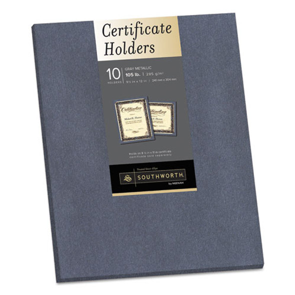 Certificate Holder, Gray, 105lb Linen Stock, 12 X 9 1/2, 10/pack