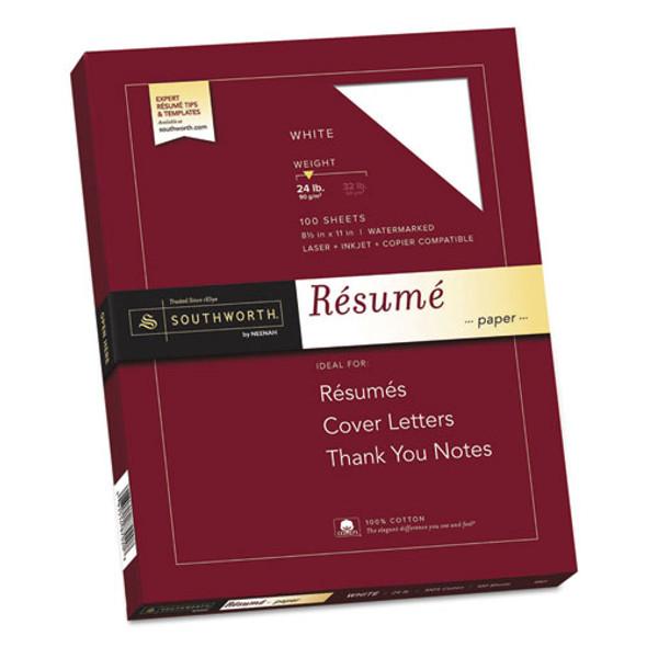 100% Cotton Resume Paper, 95 Bright, 24 Lb, 8.5 X 11, White, 100/pack