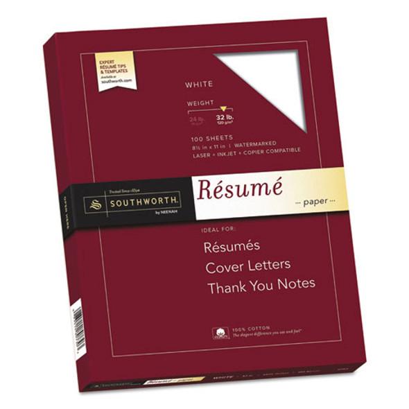 100% Cotton Resume Paper, 95 Bright, 32 Lb, 8.5 X 11, White, 100/pack