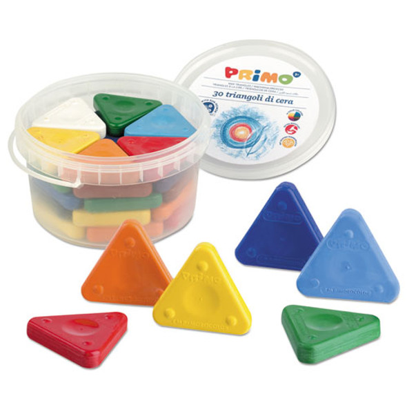 Primo Triangle Crayons, Assorted Colors, 30/pack