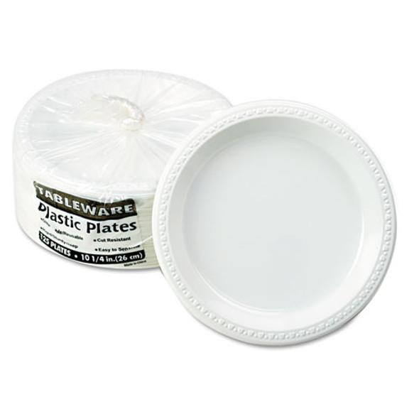 "Plastic Dinnerware, Plates, 10 1/4"" Dia, White, 125/pack"