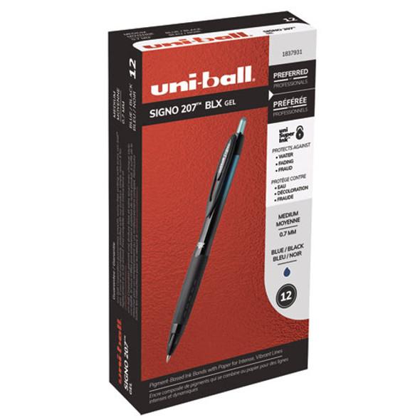 207 Blx Series Retractable Gel Pen, 0.7mm, Black Ink, Translucent Black Barrel