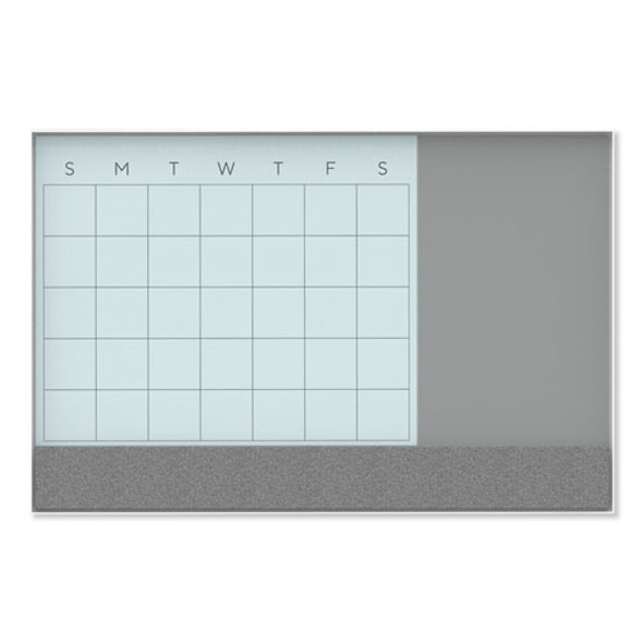 3n1 Magnetic Glass Dry Erase Combo Board, 36 X 24, Month View, White Surface And Frame