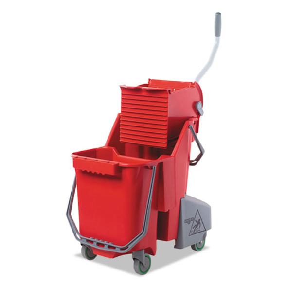 Side-press Restroom Mop Dual Bucket Combo, 8gal, Plastic, Red