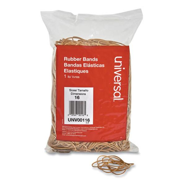 "Rubber Bands, Size 16, 0.04"" Gauge, Beige, 1 Lb Box, 1,900/pack"