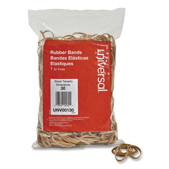"Rubber Bands, Size 30, 0.04"" Gauge, Beige, 1 Lb Box, 1,100/pack"