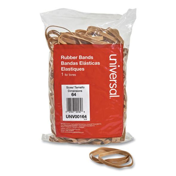 """Rubber Bands, Size 64, 0.04"""" Gauge, Beige, 1 Lb Bag, 320/pack"""