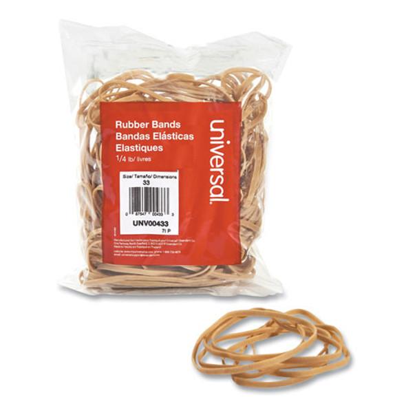 """Rubber Bands, Size 33, 0.04"""" Gauge, Beige, 4 Oz Box, 160/pack"""