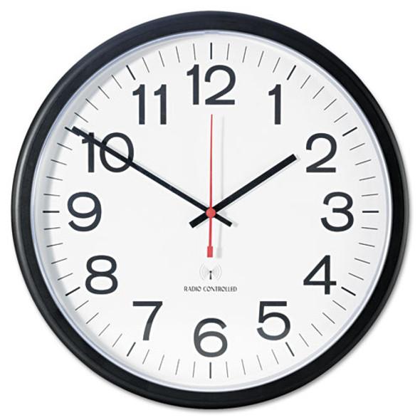 """Deluxe 13 1/2"""" Indoor/outdoor Atomic Clock, 13.5"""" Overall Diameter, Black Case, 1 Aa (sold Separately)"""