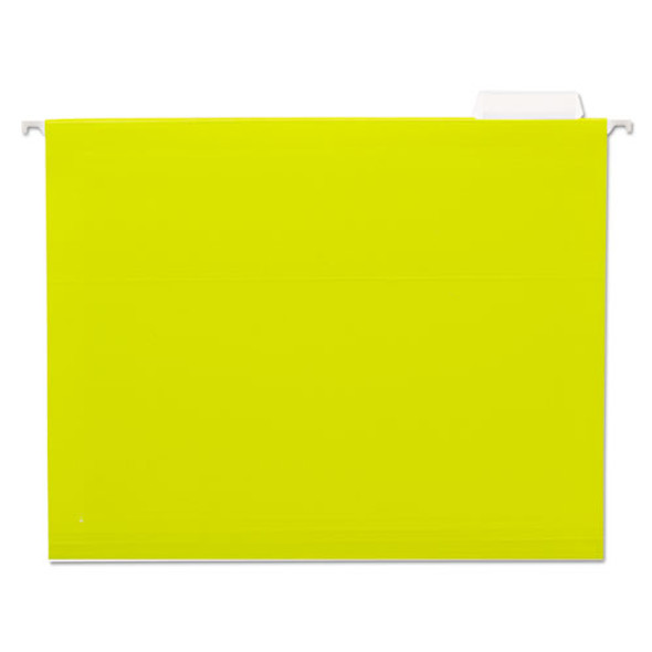 Deluxe Bright Color Hanging File Folders, Letter Size, 1/5-cut Tab, Yellow, 25/box