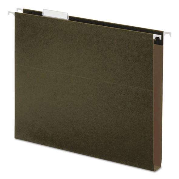Box Bottom Hanging File Folders, Letter Size, 1/5-cut Tab, Standard Green, 25/box - IVSUNV14141