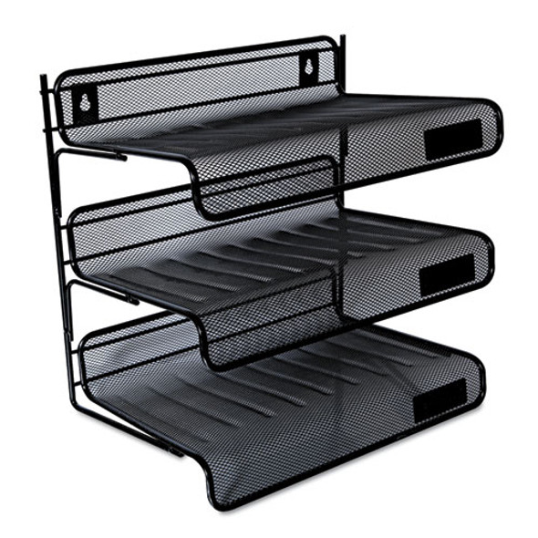 "Deluxe Mesh Three-tier Desk Shelf, 3 Sections, Letter Size Files, 13.25"" X 9.25"" X 12.38"", Black"