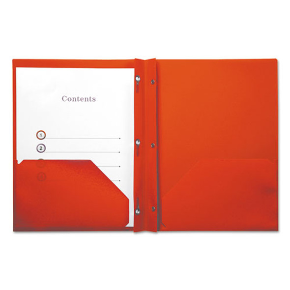 Plastic Twin-pocket Report Covers With 3 Fasteners, 100 Sheets, Red, 10/pk