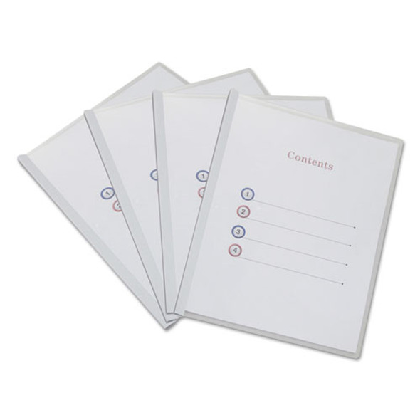 Clear View Report Cover With Slide-on Binder Bar, 20 Sheets, White, 25 Per Pack