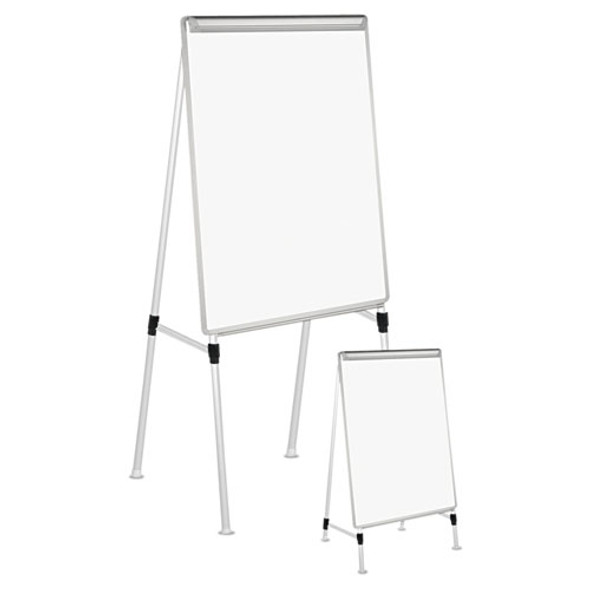 """Dry Erase Easel Board, Easel Height: 42"""" To 67"""", Board: 29"""" X 41"""", White/silver"""