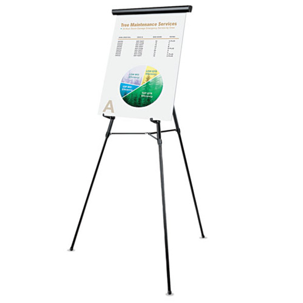 """3-leg Telescoping Easel With Pad Retainer, Adjusts 34"""" To 64"""", Aluminum, Black"""