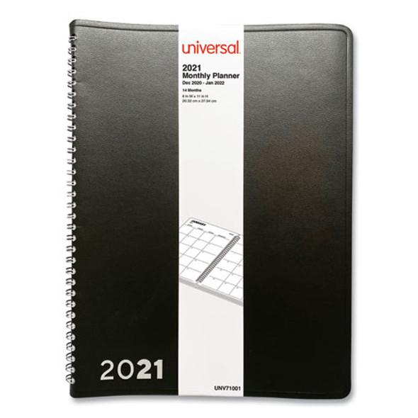 Monthly Planner, 11 X 8, Black, 2021