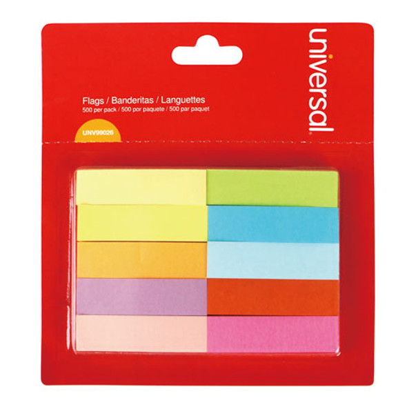 """Self-stick Page Tabs, 1/2"""" X 2"""", Assorted Colors, 500/pack"""