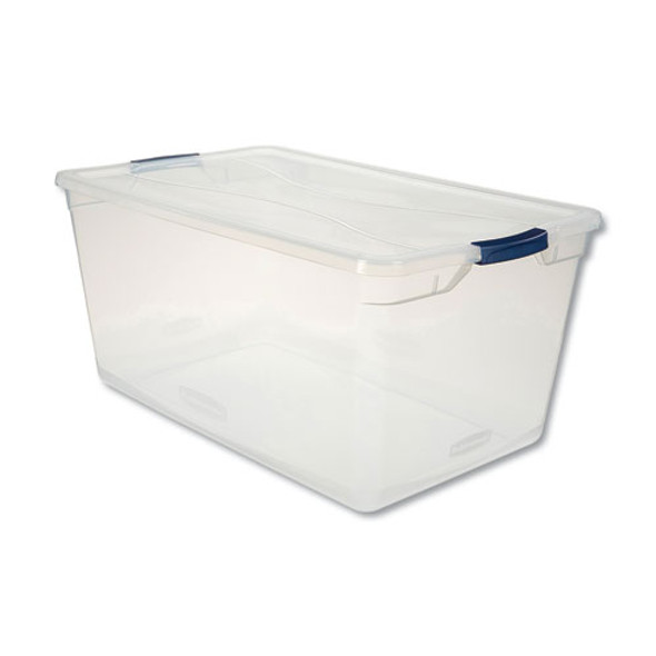 Clever Store Basic Latch-lid Container, 17 3/4w X 29d X 13 1/4h, 95qt, Clear