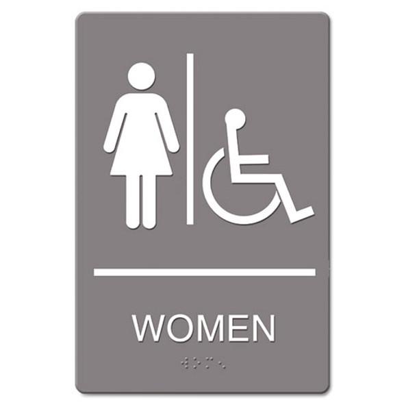 Ada Sign, Women Restroom Wheelchair Accessible Symbol, Molded Plastic, 6 X 9