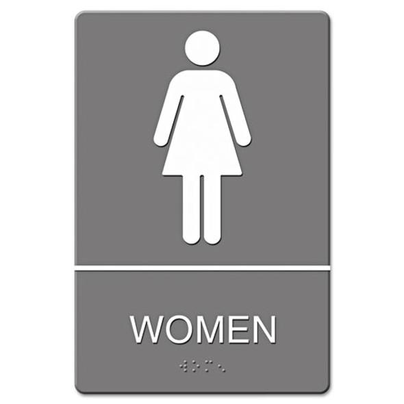 Ada Sign, Women Restroom Symbol W/tactile Graphic, Molded Plastic, 6 X 9, Gray