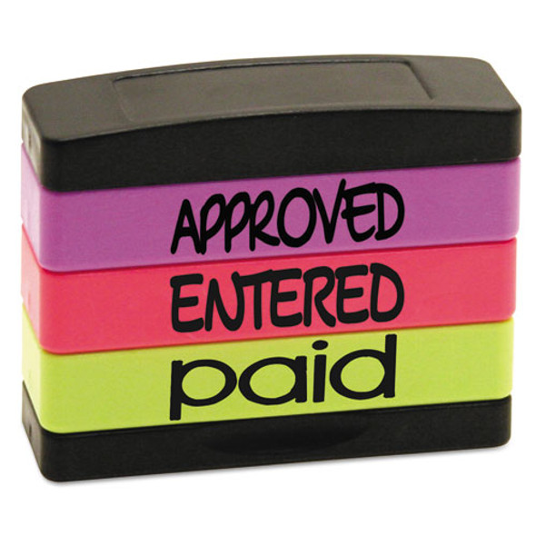 Stack Stamp, Approved, Entered, Paid, 1 13/16 X 5/8, Assorted Fluorescent Ink