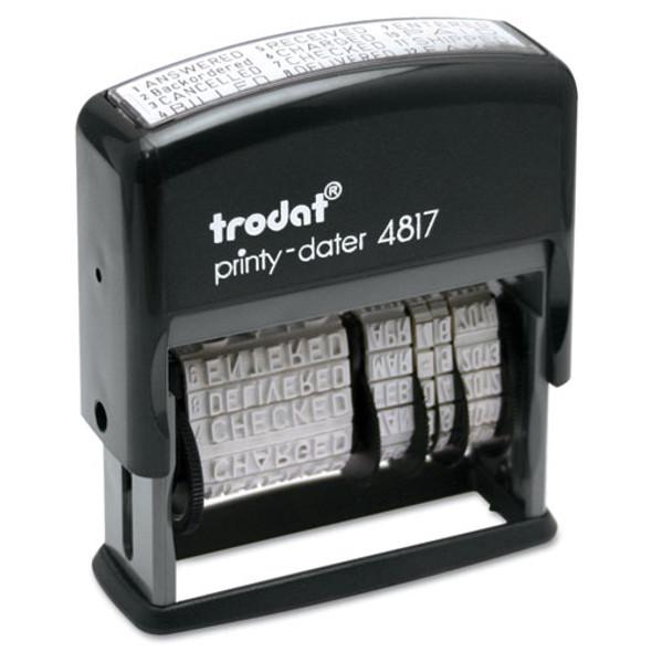 Trodat Economy 12-message Stamp, Dater, Self-inking, 2 X 0.38, Black